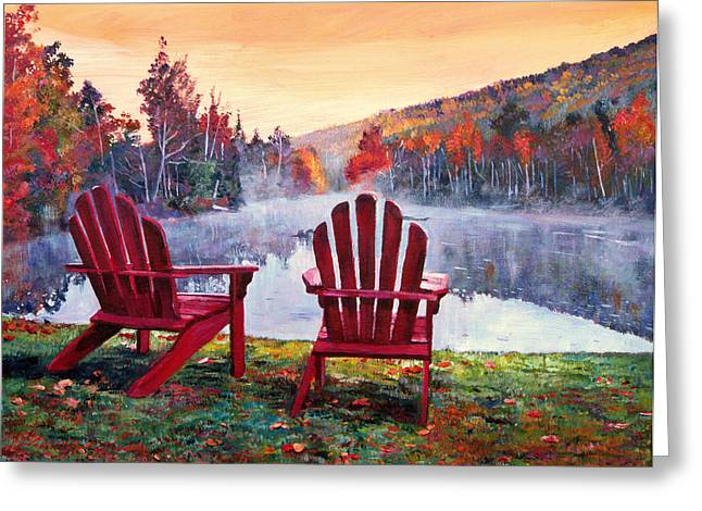 Adirondack Chair Greeting Cards - Vermont Romance Greeting Card by David Lloyd Glover