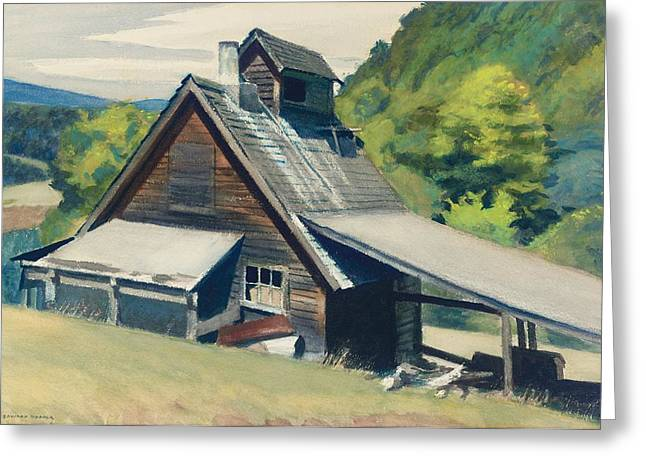 Wooden Greeting Cards - Vermont Sugar House Greeting Card by Edward Hopper
