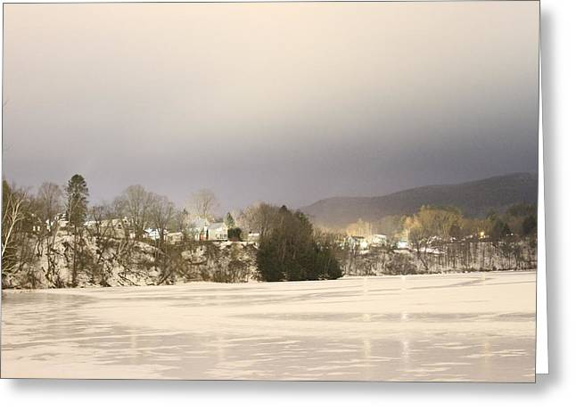 Winter Night Greeting Cards - Vermont Village On Ice Greeting Card by Nathan Larson