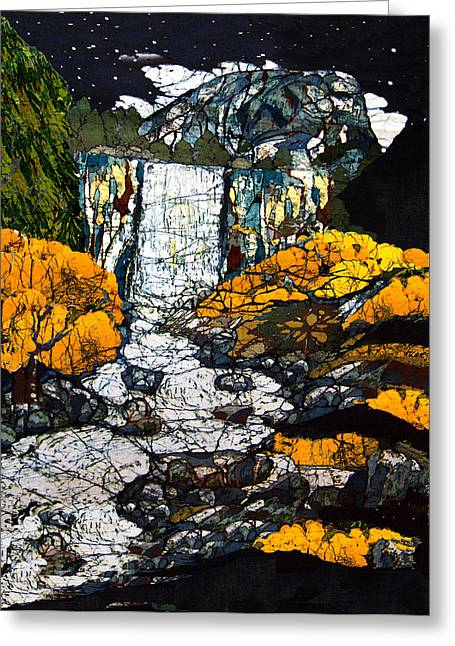 Artist Tapestries - Textiles Greeting Cards - Vernal Falls Greeting Card by Alexandra  Sanders