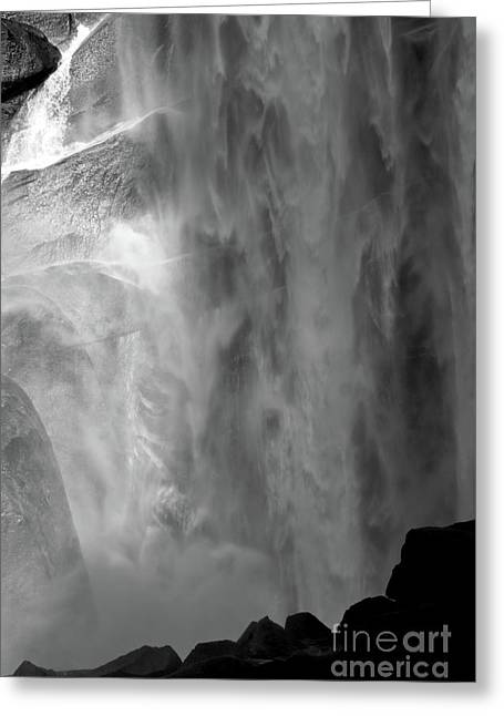 Vernal Greeting Cards - Vernal Falls BW Greeting Card by Chris  Brewington Photography LLC