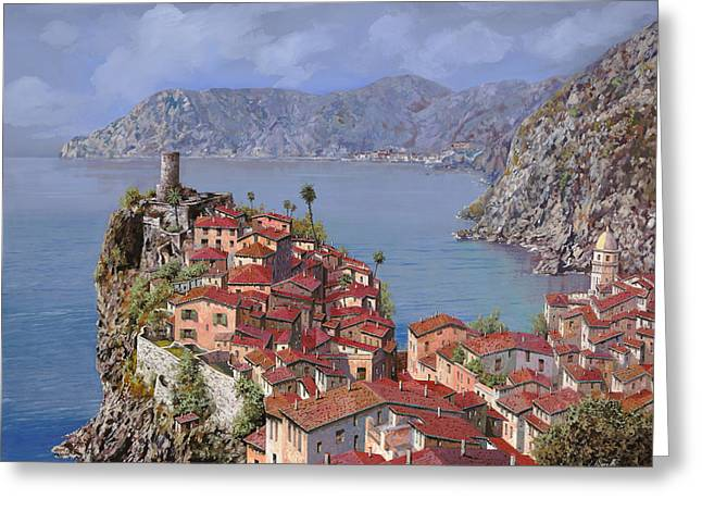 Roof Greeting Cards - Vernazza-Cinque Terre Greeting Card by Guido Borelli