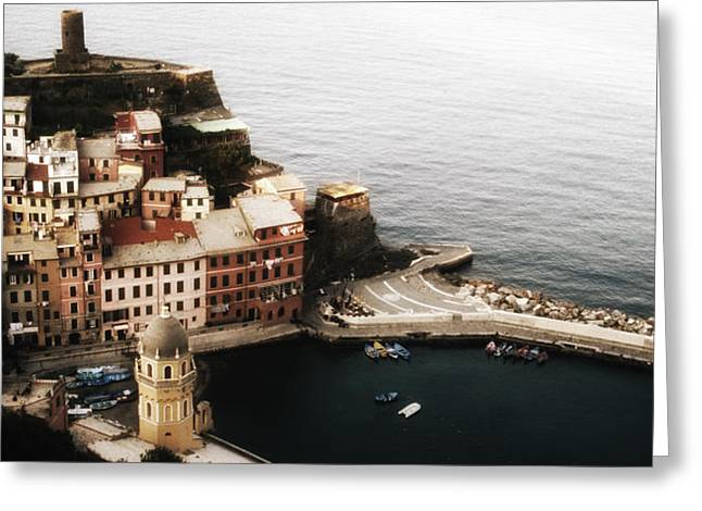 Sea Scape Greeting Cards - Vernazza from above Greeting Card by Andrew Soundarajan