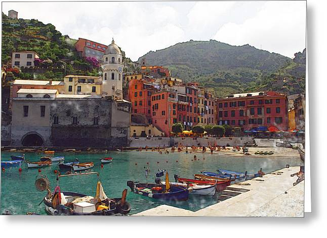North Italian Town Greeting Cards - Vernazza Italy Greeting Card by Brandon Bourdages