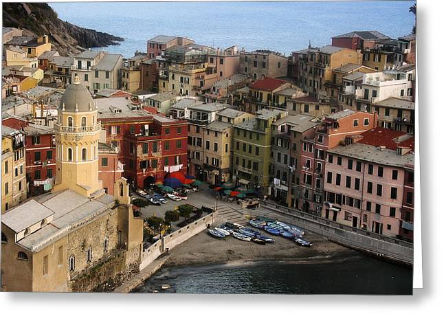 Mediterranean Coast Greeting Cards - Vernazza View Greeting Card by Andrew Soundarajan