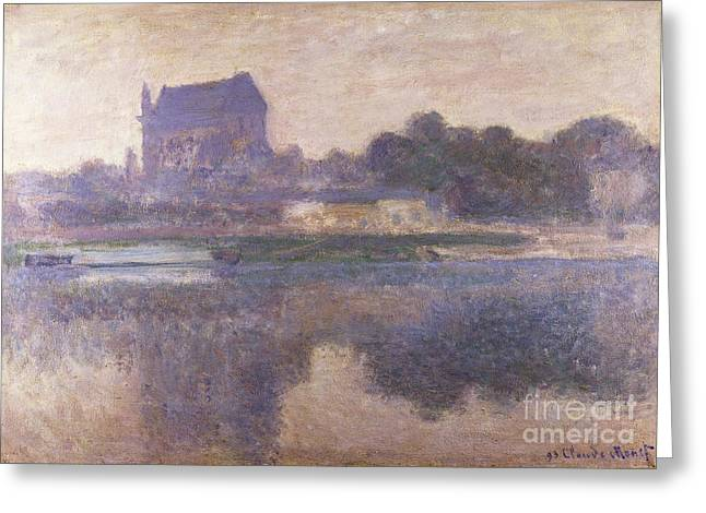 Reflections In River Greeting Cards - Vernon Church in Fog Greeting Card by Claude Monet