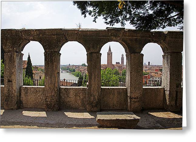 Outdoor Theater Greeting Cards - Verona Vista Greeting Card by Cheri Randolph