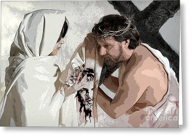 Way Of The Cross Digital Art Greeting Cards - Veronica Wipes The Face of Jesus Greeting Card by Jacqueline Milner
