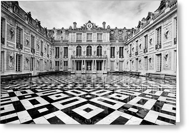 Black And White Paris Greeting Cards - Versailles architecture Paris Greeting Card by Pierre Leclerc Photography