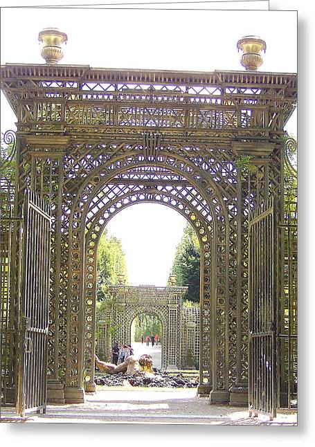 King Louis Were Spectacular Greeting Cards - Versailles Garden Entrance Greeting Card by Maggie Cruser