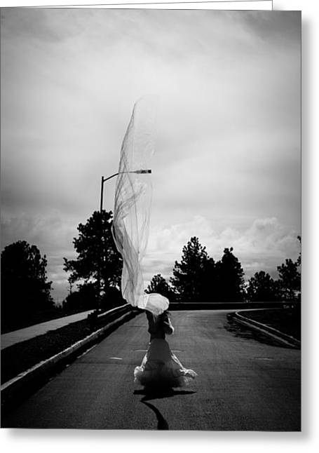 White Cloth Photographs Greeting Cards - Vertical Cloth Wind  Greeting Card by Scott Sawyer