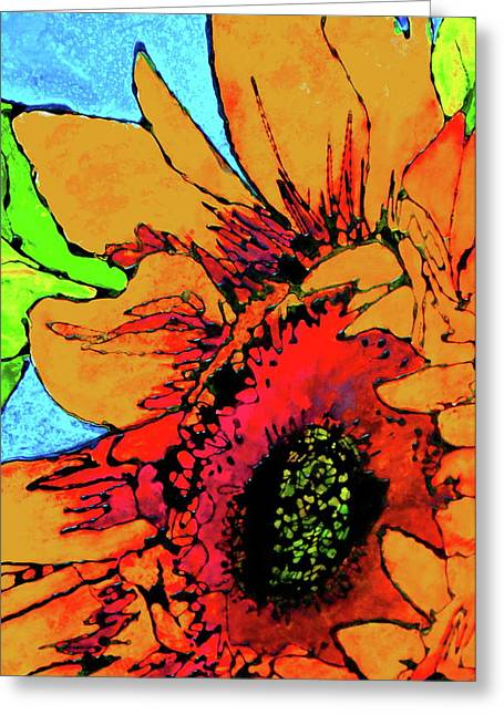 Gold Lime Green Greeting Cards - Vertical Sunflower Greeting Card by Laura  Grisham
