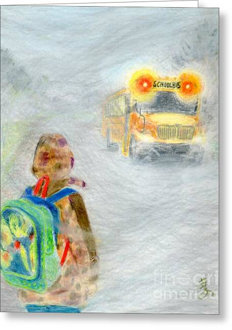 School Bus Print Greeting Cards - Very Very Very Foggy Day Greeting Card by Yoshiko Mishina