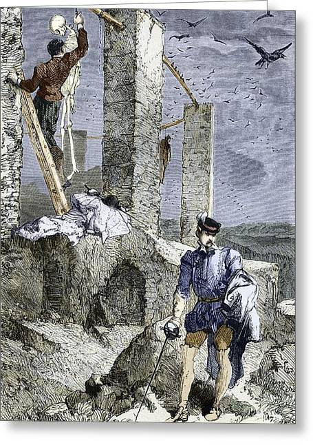 Goulish Greeting Cards - Vesalius Stealing A Skeleton, Artwork Greeting Card by Sheila Terry