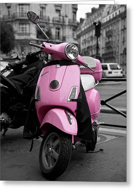 Black And White Paris Greeting Cards - Vespa in Pink Greeting Card by Edward Myers