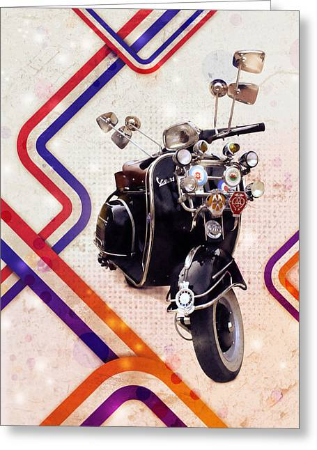 Scooter Greeting Cards - Vespa Mod Scooter Greeting Card by Michael Tompsett