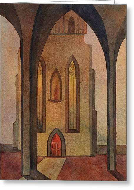 Church Pillars Paintings Greeting Cards - Vespers Greeting Card by Johanna Axelrod