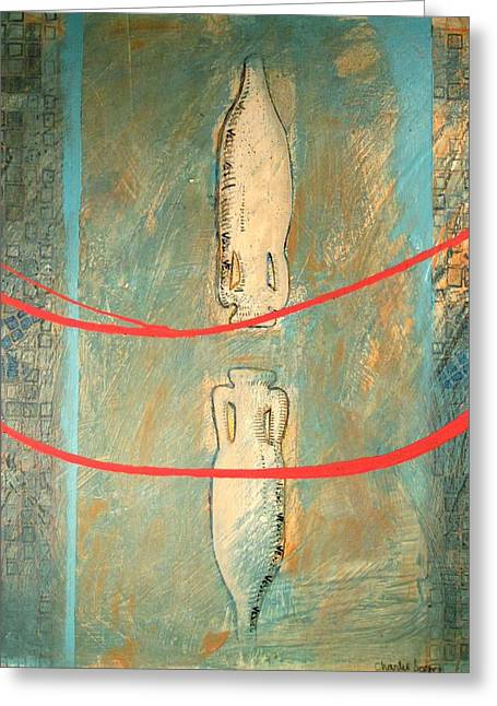 Canoe Paintings Greeting Cards - VESSEL VI series Greeting Card by Charlie Spear