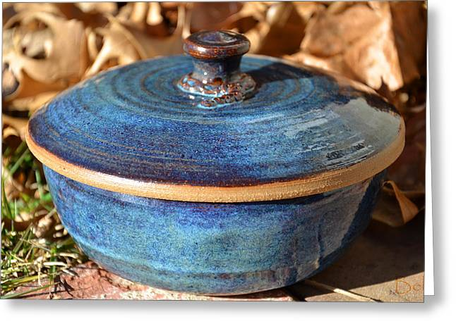 Glazed Pottery Ceramics Greeting Cards - Vessel with Lid No.2 Greeting Card by Christine Belt