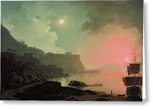 Eruption Greeting Cards - Vesuvius from Posillipo Greeting Card by Joseph Wright of Derby