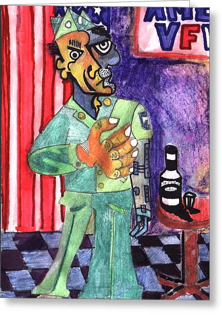 Uniforms Mixed Media Greeting Cards - Vfw Greeting Card by Jame Hayes