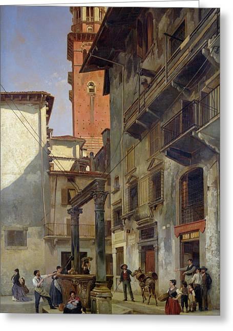 Overhang Paintings Greeting Cards - Via Mazzanti in Verona Greeting Card by Jacques Carabain