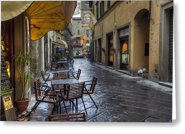 Italian Wine Greeting Cards - Cortona Tuscany Greeting Card by Al Hurley