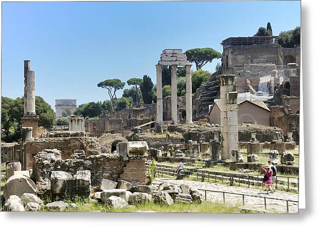 Ancient Ruins Greeting Cards - Via Sacra. Roman Forum. Rome Greeting Card by Bernard Jaubert