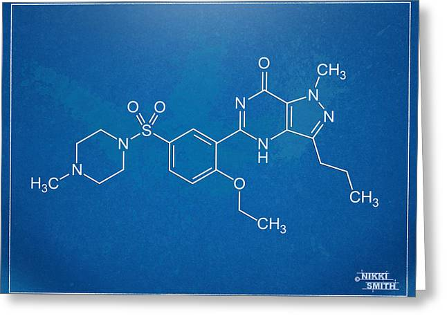 Molecular Greeting Cards - Viagra Molecular Structure Blueprint Greeting Card by Nikki Marie Smith