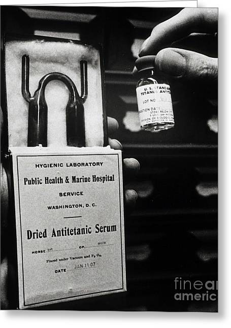 1907 Greeting Cards - Vials Of Tetanus Antitoxin Greeting Card by Science Source