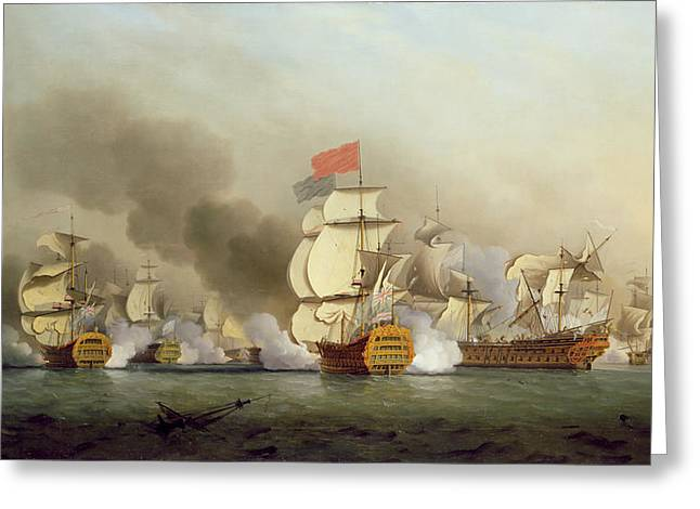 Firing Greeting Cards - Vice Admiral Sir George Ansons Greeting Card by Samuel Scott