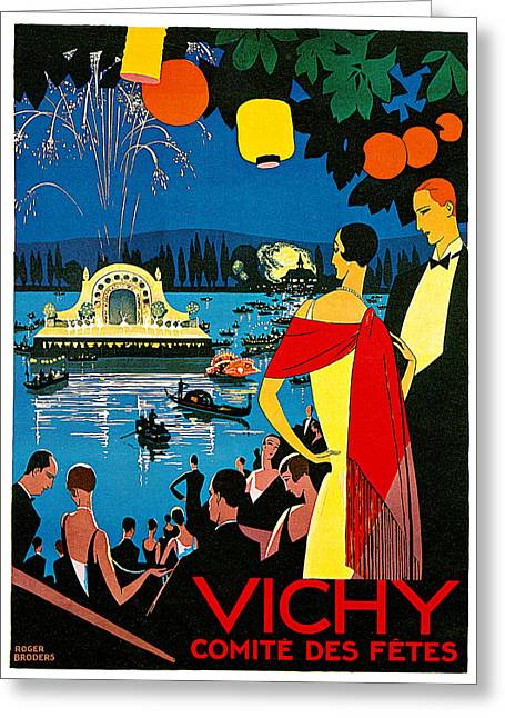 Vichy Greeting Cards - Vichy comite des fetes Greeting Card by Roger Broders