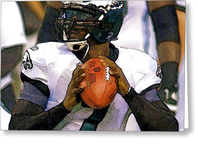 Michael Vick Greeting Cards - Vick Greeting Card by Gerry Mann