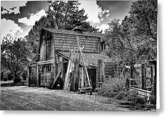 Outbuildings Greeting Cards - Vics Old Barn II Greeting Card by David Patterson