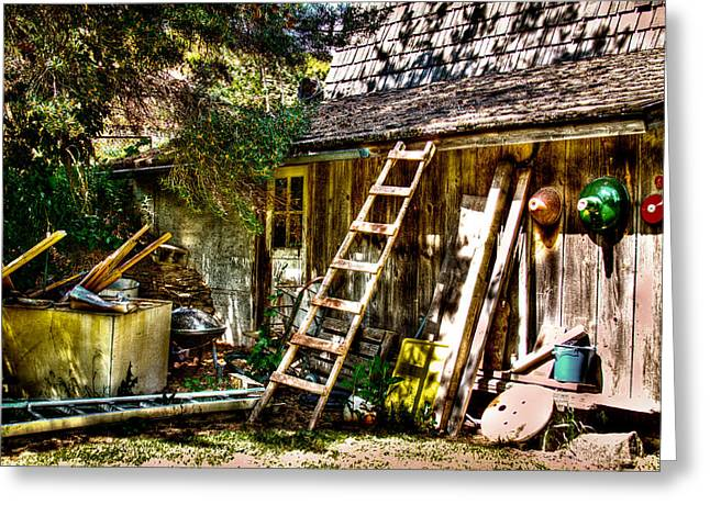 Outbuildings Greeting Cards - Vics Old Barn III Greeting Card by David Patterson