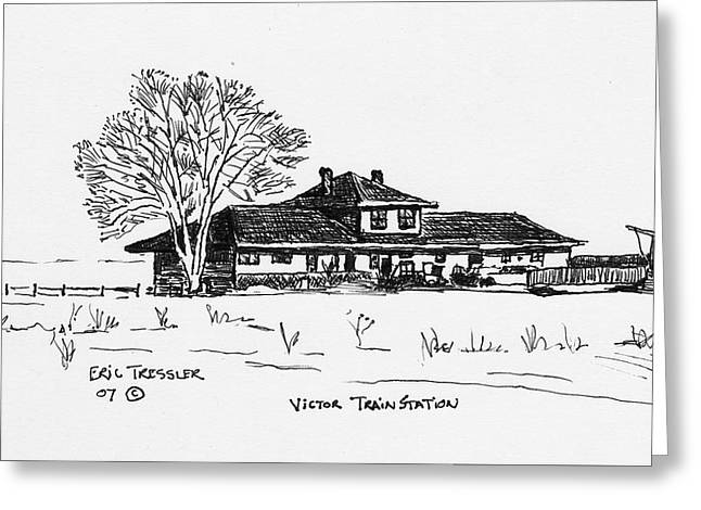 Pen And Ink Drawing Photographs Greeting Cards - Victor Train Station Greeting Card by Eric Tressler