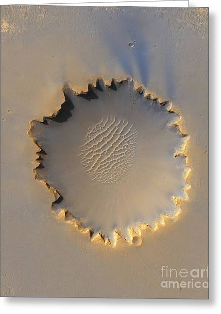 Victoria Crater Greeting Cards - Victoria Crater On Mars Greeting Card by Stocktrek Images