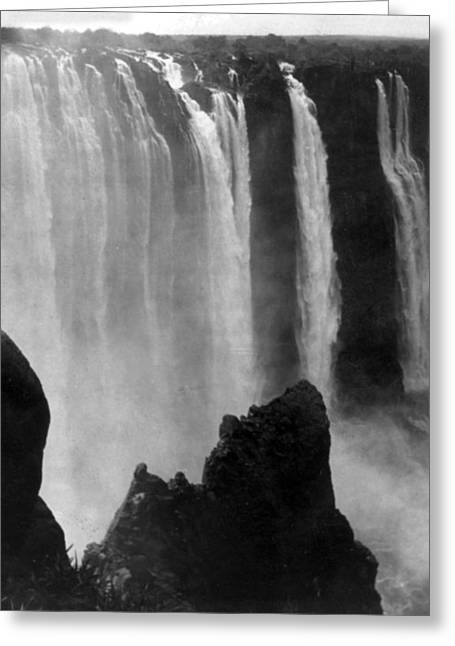 Zambezi River Greeting Cards - Victoria Falls - c 1911 Greeting Card by International  Images