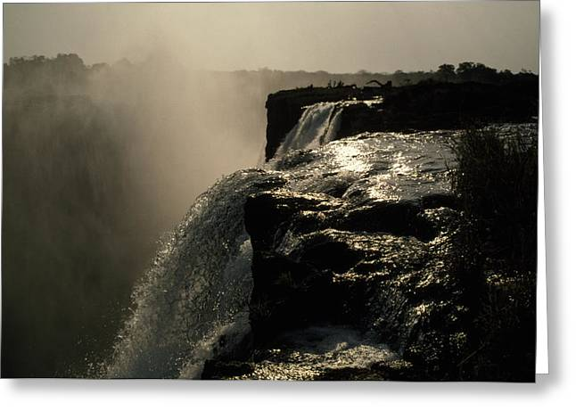 Zambezi River Greeting Cards - Victoria Falls And Zambezi River Shot Greeting Card by Jason Edwards