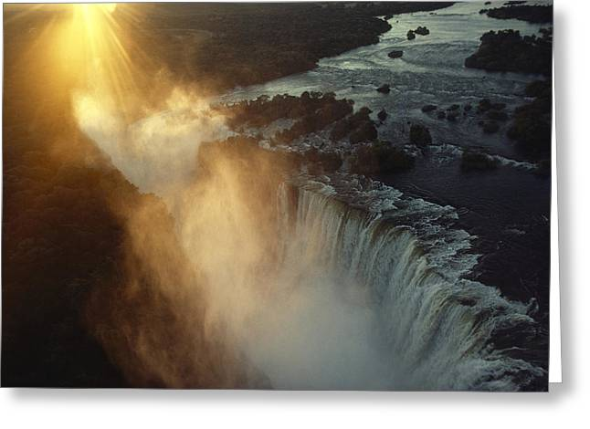 Zimbabwe Greeting Cards - Victoria Falls Crashes 350 Feet Greeting Card by James L. Stanfield