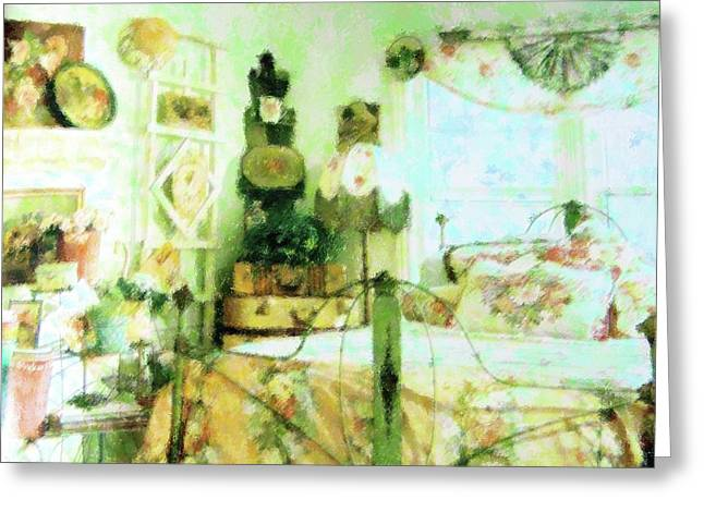 Bed Spread Greeting Cards - Victorian Bedroom Greeting Card by Florene Welebny