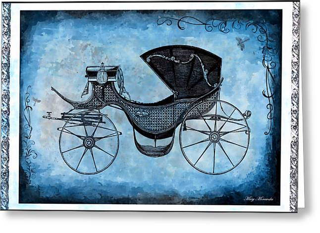 Victorian Mixed Media Greeting Cards - Victorian Coach Greeting Card by Mary Morawska