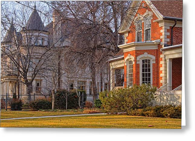 Salt Lake City Temple Greeting Cards - Victorian Era Houses Greeting Card by Utah Images