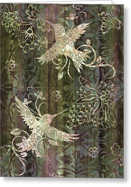 Quilt Greeting Cards - Victorian Hummingbird Green Greeting Card by JQ Licensing