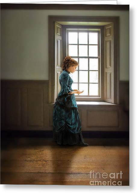 Love Letter Greeting Cards - Victorian Lady Holding Letters by Window Greeting Card by Jill Battaglia