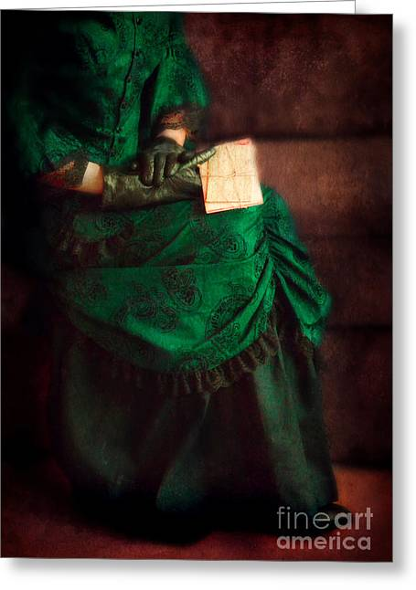 Love Letter Greeting Cards - Victorian Lady with Letters Greeting Card by Jill Battaglia