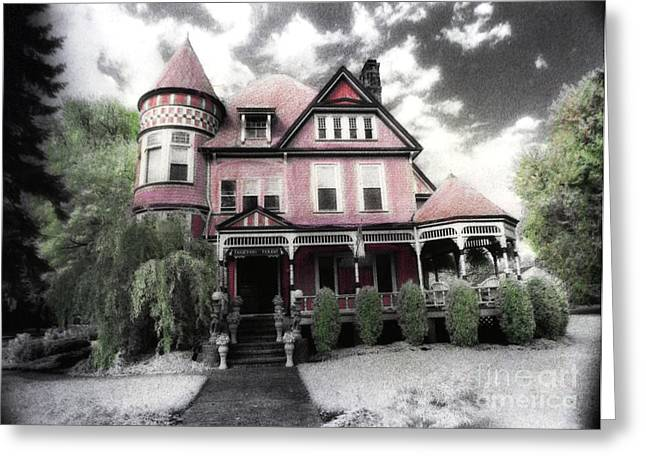 Dreamy Infrared Greeting Cards - Victorian Mansion Heather House-Hand Colored Infrared Photo Greeting Card by Kathy Fornal