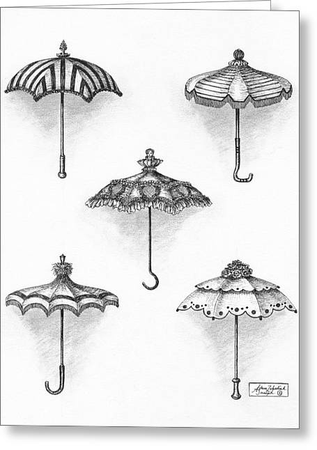 Pen And Paper Drawings Greeting Cards - Victorian Parasols Greeting Card by Adam Zebediah Joseph