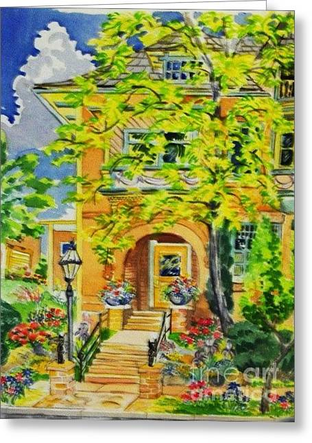 Overhang Digital Art Greeting Cards - Victorian Sandstone Mansion Denver Colorado Greeting Card by Annie Gibbons