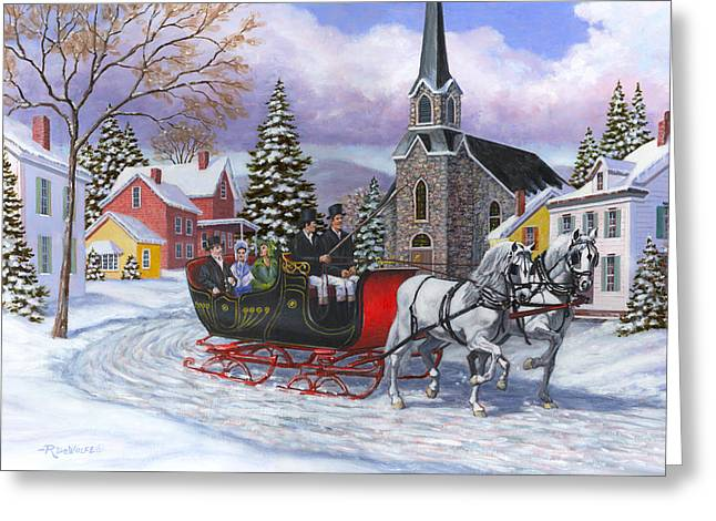 Sleigh Greeting Cards - Victorian Sleigh Ride Greeting Card by Richard De Wolfe